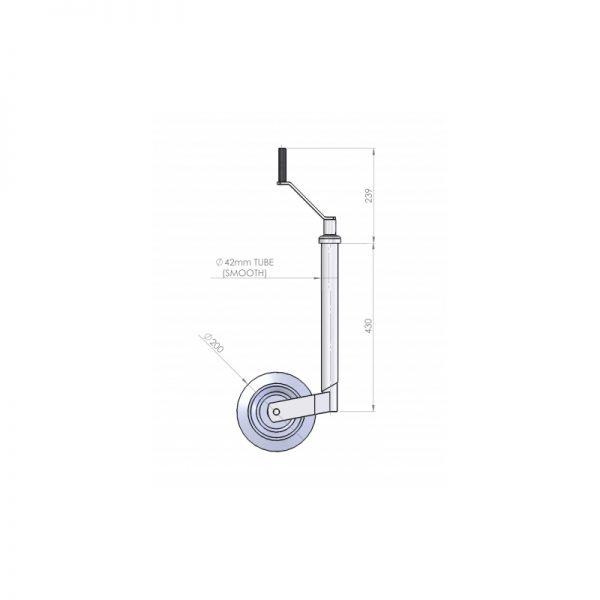 42mm 1.5 Tonne Trailer Jockey Wheel Assembly - JW070