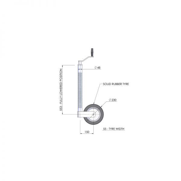 48mm 3.0 Tonne Trailer Jockey Wheel Assembly - JW005